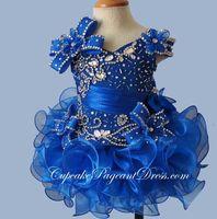 Glitz Crystal Bodice 어린 소녀 컵케익 대회 드레스 2020 새로운 로얄 블루 짧은 캐스케이드 러프 Organza 꽃 여자 가운