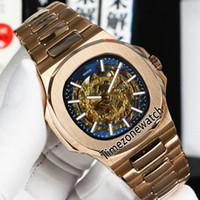 New Nautilus 5711 Автоматические мужские Часы Розовое Золотой Голубой Внутренний Золотой Скелетные Дымовые Палочки Из Нержавеющей Стали Браслет Спортивные Часы TimeZoneWatch