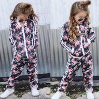 Детская одежда 2018 осень малыша одежда для девочек 2шт комплект одежды цветочные печатных пальто и брюки детская одежда спортивный костюм девушки