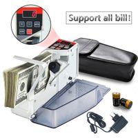 Compteur d'argent portable pour billet de banque Bill Billetterie Compteur de billets Mini machines à compter Équipement financier Plug UE
