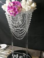 Nuovo stile alto acrilico Fiore Centrotavola stand con acrilico Hanging in rilievo di cristallo per tavola di nozze decorazione del centro senyu0445
