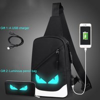 Simple Chest bag Canvas Luminous Casual Flaps Bags USB Charg...