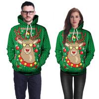 رجل إمرأة عيد الميلاد دير هوديس 3D طباعة الخضراء هوديي عرق أوم فضفاض هودي البلوز البلوز الهيب هوب بلايز الحجم آسيا