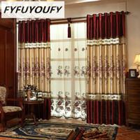 FYFUYOUFY высокого качества бархат занавес для гостиной Цветочных вышитых тюлевых штор для спальни полосковых плотных штор