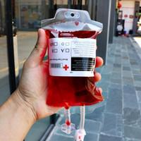 Temizle Food Grade PVC Malzeme Yeniden kullanılabilir Kan Enerji İçeceği Çanta Halloween Kılıfı Dikmeler Boş 350ml Vampir İçecek Çanta Ücretsiz Kargo