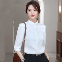 New Arrival Women Turn- Down Collar Satin Shirts Spring Summe...
