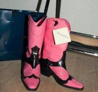 Nuevas mujeres del diseño de pista del cuero de zapatos en punta del dedo del pie botas de vaquero ahueca hacia fuera el corazón de mediana talones Botas mitad de la pantorrilla occidentales