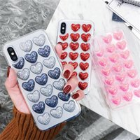 Nova moda bling glitter heart cola silício corpo case para iphone 7 8 XR XS Max Capa Traseira 3D Loves Soft Case