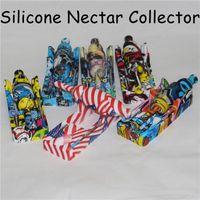 Vente en gros silicone Nectar Collector kit fumée portable concentré tuyau avec embout en titane Dab paille huile tuyau Rigs pour la cire