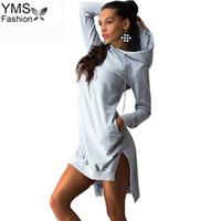 Casual Femmes Pull poches Svitshot Sexy Survêtement Sweat Hoodies Femme Slim capuche Robe Vestidos Casual