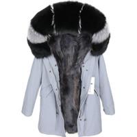 Grey raccoon forro cinza azul longo parkas EUA Suécia Maomaokong marca Lavish preto pele de raposa guarnição com capuz mulheres casacos de neve