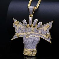 lettere maiuscole hip hop REALE RICHE collane di ciondolo diamanti di lusso pendenti con pendenti in oro placcato in oro 18k zirconi collana uomo ricco