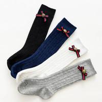 25abc406045 Nuovo Arrive. Moda 2019 nuovi arrivati Baby Socks bowknot Ragazze Knit Knee  Calze ...
