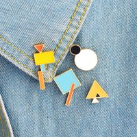 Geometry Brooch Triangle Circle Rectangle Square Metal Badge...