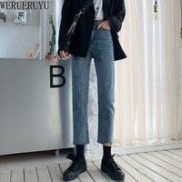 WERUERUYU 2020 Hosen Herbst koreanische gerade retro Jeans Yafeng Netto-rot-Version
