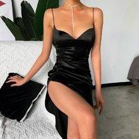 robe jarretelle pêche collier coeur 2020 nouvelle couleur splits robe de soirée Slim été femme vêtements sexy solide boîte de nuit jupe