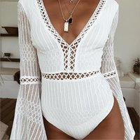 2019 Sommer-Frauen Sexy Leotard Trumpet Sleeve Hohle Fest Hemd grundiert Tights V-Ausschnitt Mesh-Frauen schnüren Tops Open Back Body Jumpsuits