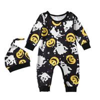 Détail nouveau-né halloween onesies avec chapeau citrouille fantôme imprimé costume Rompers combinaison une-pièce combinaisons enfants vêtements de créateurs