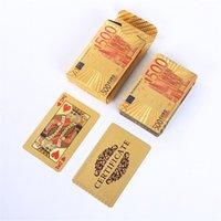 Poker-Karte Gold Silber Folie Dollar Spielkarten Wasserdicht Gold überzogenes Euro Poker Tischspiele für Geschenk-Ansammlung Freien Verschiffen