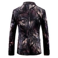 Erkekler Blazer Tasarımlar Hayvan Kaplan Baskı Blazer Ceket Slim Fit Erkek Kadife Çiçek Rahat Blazers Erkek Balo Sahne Giyim Bar Elbise