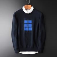Patrón de los nuevos hombres del suéter de moda geométrica Jacquard Jerseys Hombre Sweaters otoño del algodón del invierno Equipo para hacer punto Suéteres para hombre