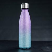 17 Unzen Glitter Wasserflaschen Edelstahl vakuumisolierte Wasserflasche Double Wall Cola-Form im Freien Reise Sport-Becher