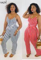 VAZN 2019 Модный дизайн комбинезон 2 цвета уличная одежда комбинезон сексуальные женщины без рукавов длинные полосатые модные полосатые комбинезоны LM8049