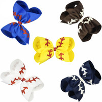 8 inches 5 Colors Softball Baby Hairclip Girl Baseball Barrettes Rugby Bow knot Hairbows Cheerleading Hair Accessories kids Hairpin C616