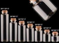 25 ملليلتر 30x60x17 ملليمتر زجاجات صغيرة مصغرة الجرار الزجاج مع سدادات الفلين / رسالة الأعراس الرغبات مجوهرات حزب الحسنات زجاجة صغيرة مصغرة الزجاج