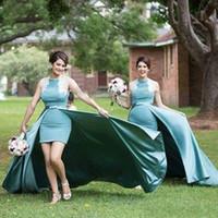 블루 하이 낮은 신부 들러리 드레스 라인 탈착식 열차 탄성 새틴 깎아 지른 넥타이 우아한 컨트리 스타일의 하녀 명예 드레스 웨딩 204