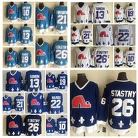 Mode Retro Quebec Nordiques Jersey 10 Guy Lafleur 19 Joe Sakic 21 Peter Forsberg 22 Mario Marois Herren Vintage CCM genähte Hockey-Trikots