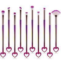 Pinceaux de maquillage de forme de coeur de couleur dégradé pinceaux de maquillage ensembles 10pcs / set Bling Bling visage fard à paupières Cosmetic Brush GGA1807