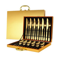 24pcs ouro Dinnerware Set Stainless Steel Tableware Set Faca, Garfo, Colher Faqueiro Gift Box talheres lava-louças de luxo