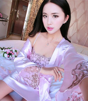 V Neck China Satin Silky Strap Dress and Bathrobe Outfit, Sil...