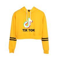 TIK TOK Crop Top con capucha Mujeres Niñas recortada con capucha de manga larga con capucha de Harajuku Pullover Streetwear Adolescentes Tops Sudadera Mujer