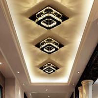 블랙 스퀘어 크리스탈 통로 천장 조명 복도 입구 램프 현대 LED 천장 램프 크리 에이 티브 발코니 계단 전등 설비