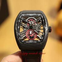 Top Version v 45 S6 SQT NR BR Relógios Skeleton Dial Caixa de Fibra Carbono Verdadeiro Tourbillon Movimento Automático Black Leather Strap Mens Relógio