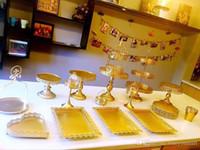12-6PCS / Set branco ou ouro Espelho casamento Superfície Bandeja da sobremesa Bolo Levante Cupcake Pan bolo Visor Tabela Decoração Abastecimento Partido
