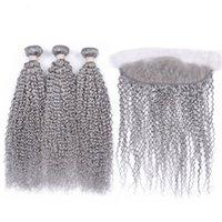 Silanda Hair Pure Grey Rizado Remy Remy Peinado humano Paquetes de tejidos 3 tejidos con el cierre frontal de encaje de 13x4 envío gratis