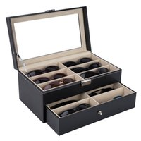 High end glasses storage box leather double layer 12 glasses storage display rack fashion sunglasses display box jewelry storage box
