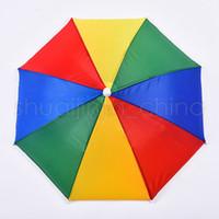 Extérieur Chapeau parapluie pliable soleil arc-en-Adulte Enfant Golf Pêche Camping Plage Couvre-chef Ombre Cap Head Chapeaux TTA1738