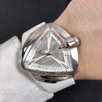Ventura H24585331 XXL Oto Macera Ve Konsept Tasarım Üçgen Çelik Beyaz Dial A2824 Otomatik Mens Watch Beyaz Kauçuk Timezonewatch 02B2