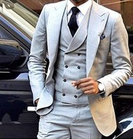 Nova moda 3 peças homens ternos ternos de casamento para homens noivo smoking com colete de breasted duplo homens terno 2020 (jaqueta + calça + colete)