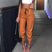 Гарм брюки женские дамы искусственной кожи высокой талией пробежки пробежки дно дна брюки брюки сподни Дэмские високи Стэн