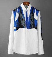 2020 estilo europeo creativo Pasarela Diseñador camisas hombres de lujo de alta calidad digital de impresión en blanco camisa de manga larga del tamaño S-XXXL