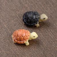 2 piezas de dibujos animados tortuga Crafts Hada del jardín en miniatura Decoración del ornamento de resina Decoración para terrarios Figurines Micro Paisaje