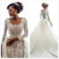 Luxurious Lace Crystals Plus Size Arabic Wedding Dresses Lon...