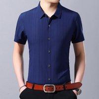 남성 캐주얼 셔츠 YMWMHU 패션 셔츠 코튼 짧은 소매 턴 다운 칼라 여름 단단한 남성 가로류 옷