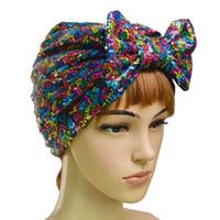 Musulmanes de las lentejuelas del capo de las mujeres del Bowknot Hijab algodón turbante del casquillo del sombrero Headwear Abrigo principal Chemo Gorros arcos del pelo Accesorios cubierta
