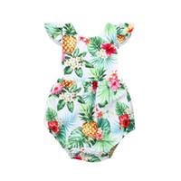 Bebé recién nacido Niñas Algodón Mameluco Verano Sin Mangas Piña Impreso Romper Ruffles Moda Mono Trajes Bebé Ropa de las muchachas